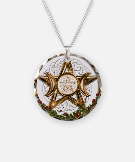 Gold Triple Moon Pentacle Necklace