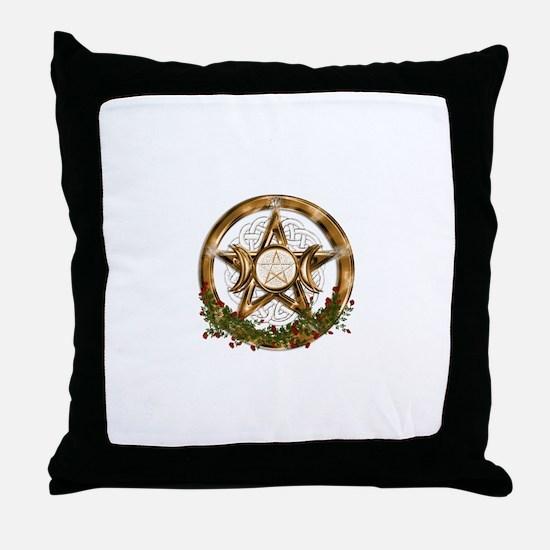 Gold Triple Moon Pentacle Throw Pillow