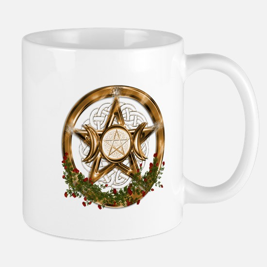 Gold Triple Moon Pentacle Mugs