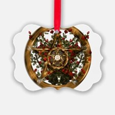 Gold Pentacle and Roses Ornament