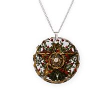 Gold Pentacle and Roses Necklace