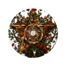 Gold Pentacle and Roses Button