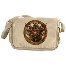 Gold Pentacle and Roses Messenger Bag