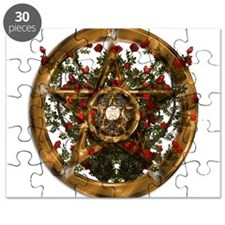 Gold Pentacle and Roses Puzzle