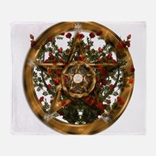 Gold Pentacle and Roses Throw Blanket