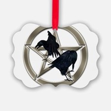 Silver Raven Pentacle Ornament