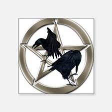 Silver Raven Pentacle Sticker