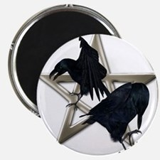 Silver Raven Pentacle Magnets