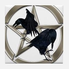 Silver Raven Pentacle Tile Coaster