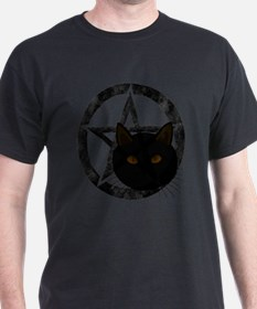 Wicca Pentacle Black Cat Face T-Shirt