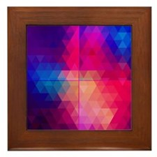 Colorful Abstract Geometric Pattern Framed Tile