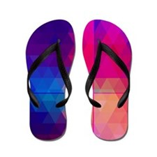Colorful Abstract Geometric Pattern Flip Flops