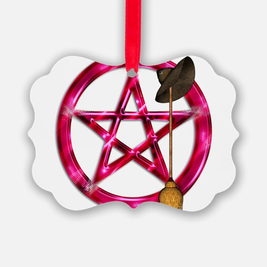 Pink Pentacle Broom - Hat Ornament