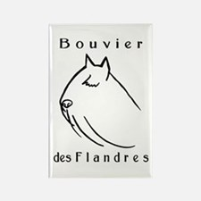 Bouvier Head Sketch w/ Text Rectangle Magnet (10 p