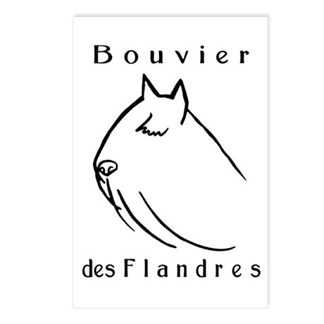 Bouvier Head Sketch w/ Text Postcards (Package of