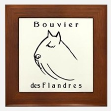 Bouvier Head Sketch w/ Text Framed Tile