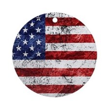 Grunge American Flag Ornament (Round)