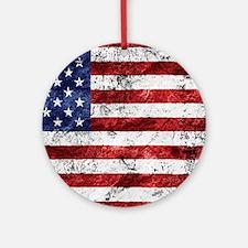 Grunge American Flag Ornament (Round)