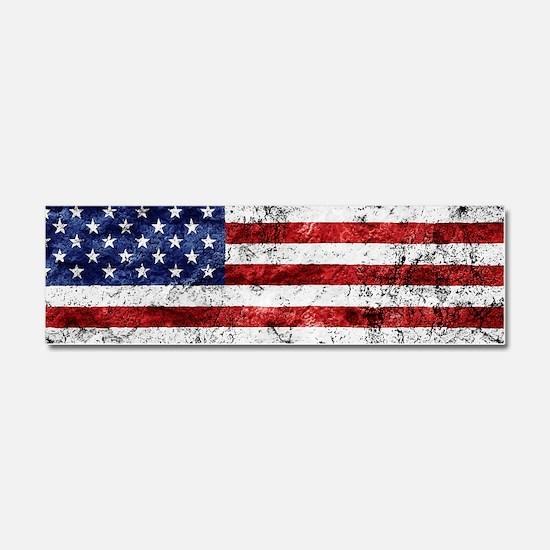 Grunge American Flag Car Magnet 10 x 3
