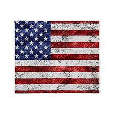 Grunge American Flag Throw Blanket