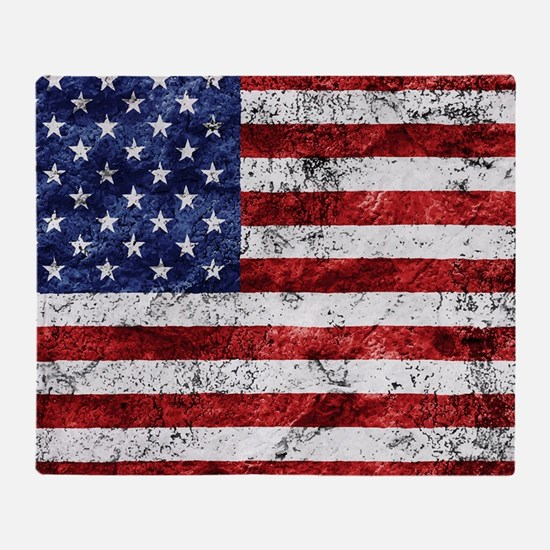 Grunge American Flag Throw Blanket