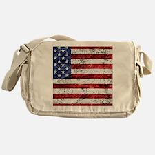 Grunge American Flag Messenger Bag