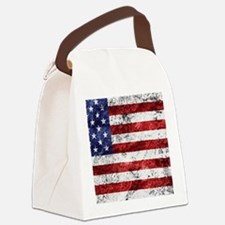 Grunge American Flag Canvas Lunch Bag