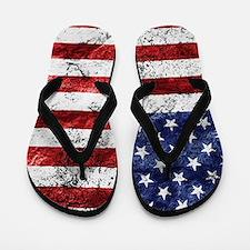 Grunge American Flag Flip Flops