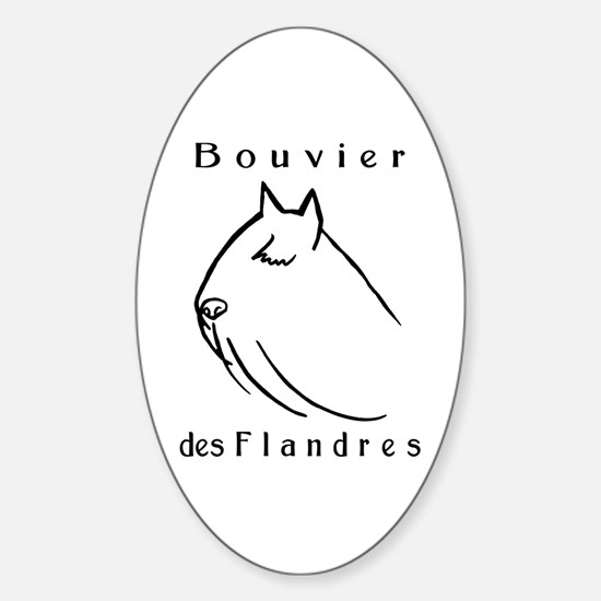 Bouvier Head Sketch w/ Text Oval Decal