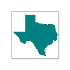"Teal Texas Outline Square Sticker 3"" x 3"""