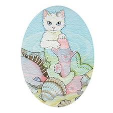 Basking Mercat Oval Ornament