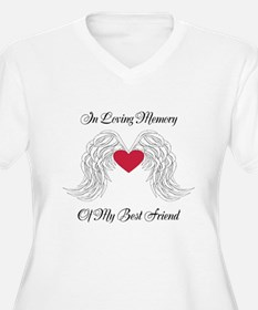 Memorial Heart And Angel Wings Plus Size T-Shirt