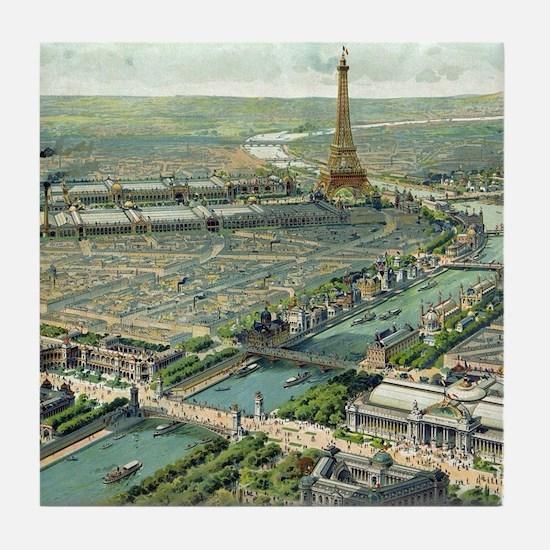Vintage Pictorial Map of Paris (1900) Tile Coaster