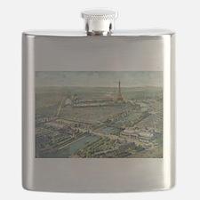 Vintage Pictorial Map of Paris (1900) Flask