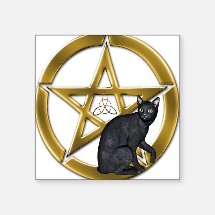 Pentacle Triquetra black cat Sticker