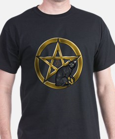 Pentacle Triquetra black cat T-Shirt