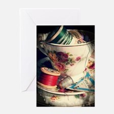 Cup of Tea and Sewing Greeting Cards