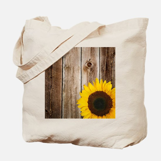 Rustic Barn Wood Sunflower Tote Bag