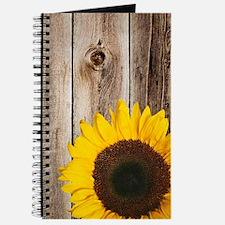 Rustic Barn Wood Sunflower Journal