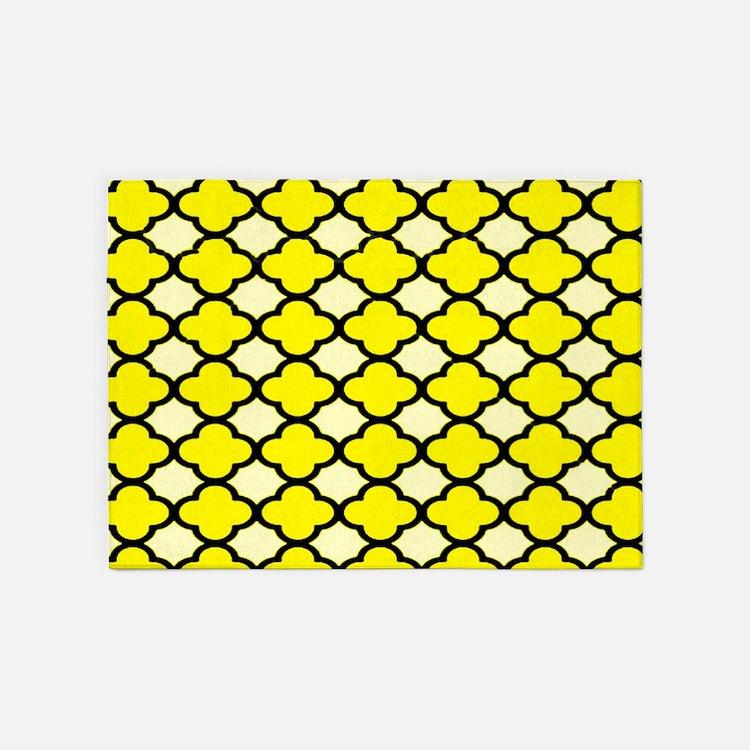 2 yellow tones Quatrefoil pattern 5'x7'Area Rug