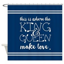 Fun King and Queen Mr. & Mrs. Shower Curtain