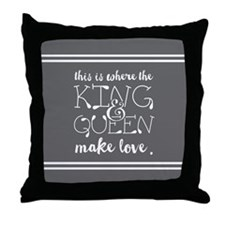 Fun King and Queen Mr. & Mrs. Throw Pillow