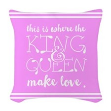 Fun King and Queen Mr. & Mrs. Woven Throw Pillow