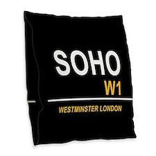 SOHO UK BLK Burlap Throw Pillow