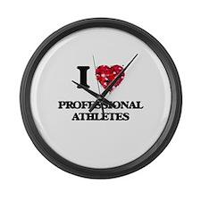 I love Professional Athletes Large Wall Clock