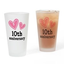 10th Anniversary Hearts Drinking Glass