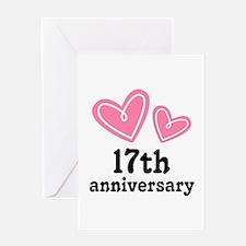 17th Anniversary Hearts Greeting Card