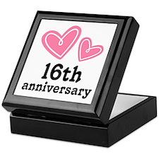 16th Anniversary Hearts Keepsake Box