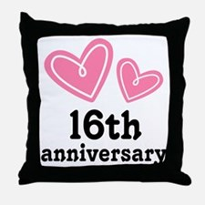 16th Anniversary Hearts Throw Pillow