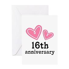16th Anniversary Hearts Greeting Card